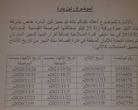 (سودان تايمز): مستند  يؤكد الإفراج عن لبن بدرة مخالف للمواصفات (تحديث)